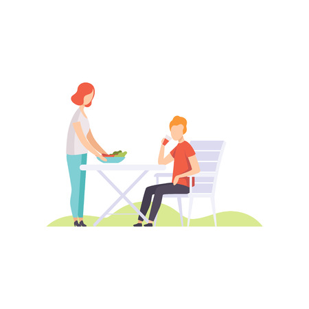 Young couple having outdoor bbq vector Illustration isolated on a white background.