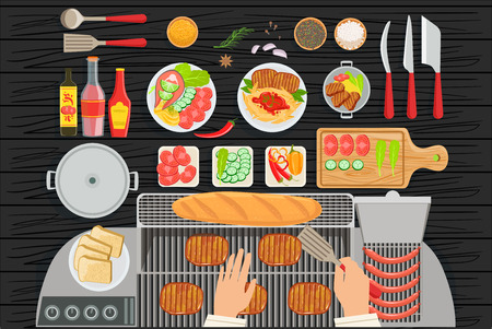 Grill Restaurant Cooking Table Elements Set View From Above. Colorful Illustration In Simple Style In Cartoon Flat Vector Design Illustration