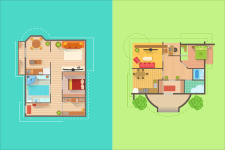 House Floor Interior Design Project View From Above. Flat Simple Bright Color Vector Plan Of Furniture Placement Illustration