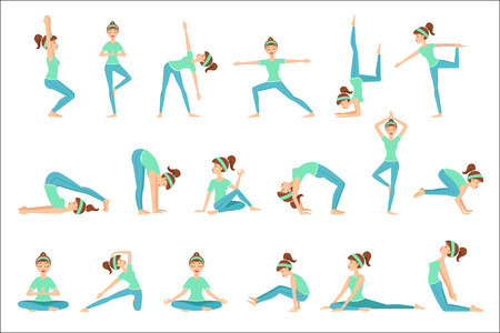 Girl In Blue Training Clothes Demonstrating Yoga Asana. Set Of Simple Childish Design Illustrations With Female Character Doing Yoga Poses. Isolated Vector Stickers On White Background.