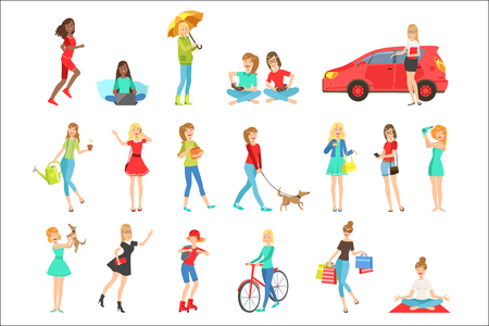 Women And Girls Different Lifestyle And Activities Set Of Flat Simplified Childish Style Cute Vector Illustrations Isolated On White Background Illustration