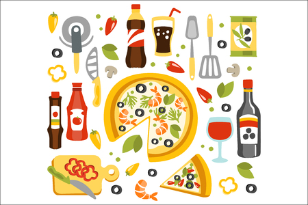 Pizza Preparation Set Of Utensils Illustration.Flat Primitive Graphic Style Collection Of Cooking Items And Ingredients On White Background. 矢量图像