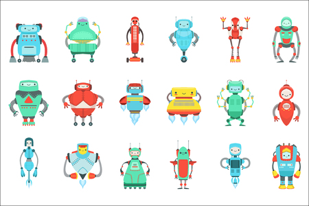 Different Cute Fantastic Robots Characters Set. Bright Color Childish Cartoon Design Androids