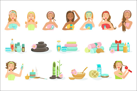 Women Doing Beautifying Hair And Skin Spa Procedures Set Of Isolated Portraits In Simple Cute Vector Design Style On White Background Ilustração