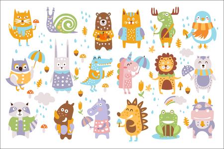 Animal Woodland Autumn Vector Set. Cartoon of cute animals