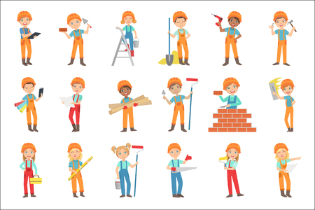 Children Doing Construction Work Set Of Bright Color Isolated Vector Drawings In Simple Cartoon Design On White Background