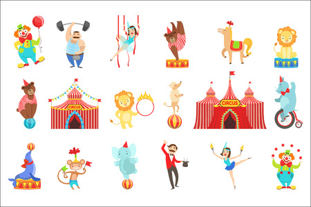 Circus Related Objects And Characters Set. Cute Cartoon Childish Style Illustrations Isolated On White Background.