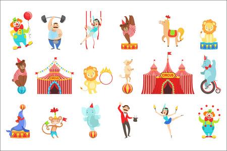 Ensemble d'objets et de personnages liés au cirque. Illustrations De Style Enfantin De Dessin Animé Mignon Isolés Sur Fond Blanc.