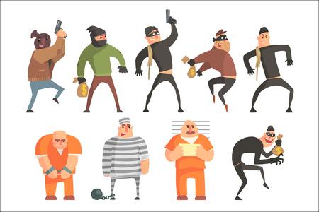 Conjunto de personajes divertidos criminales y convictos. Ilustraciones de vectores de estilo divertido de dibujos animados aisladas sobre fondo blanco.