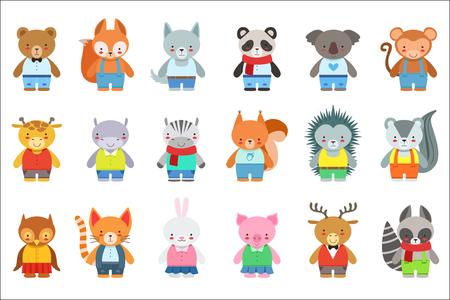 Conjunto de personajes de animales de juguete para niños en ropa. Ilustraciones de estilo infantil de dibujos animados lindo aisladas sobre fondo blanco. Ilustración de vector