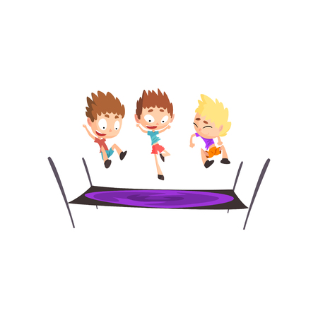 Boys playing trampoline, bouncing kids having fun on trampoline vector Illustration isolated on a white background.