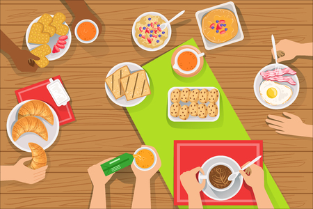 People Eating Different Breakfast Meals Together View From Above. Simple Bright Color Vector Illustration With Only Hands Visible Assortment Of Morning Treats. Stock Illustratie