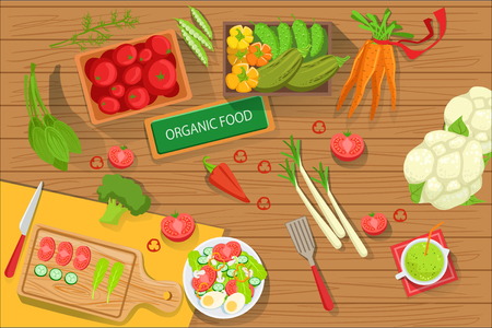 Table With Fresh Organic Vegetables And Cooking Attributes View From Above. Simple Bright Color Vector Illustration With Vegetarian Food Preparation Ingredients. Banque d'images - 111889824