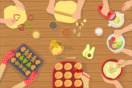 People Cooking Pastry And Other Food Together View From Above. Simple Bright Color Vector Illustration With Only Hands Visible and Different Kitchen Attributes And Cooking Ingredients.