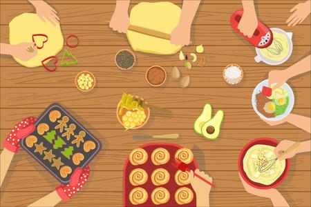 Persone che cucinano pasticceria e altri alimenti insieme vista dall'alto. Semplice illustrazione vettoriale di colore brillante con solo le mani visibili e diversi attributi di cucina e ingredienti di cottura.