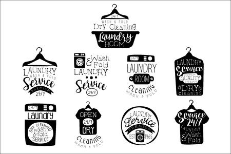 Set di etichette in bianco e nero della stanza della lavanderia di modelli di design piatto vettoriale in stile tradizionale su sfondo bianco Vettoriali