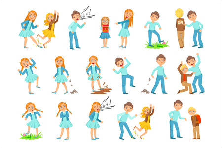 Older Girl and Boy Bullying Young Children And Behaving Badly Set. Bright Color Isolated Vector Drawings In Simple Cartoon Design On White Background