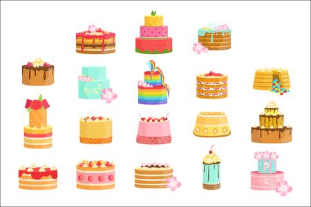 Asortyment tortów dekorowanych na specjalne okazje