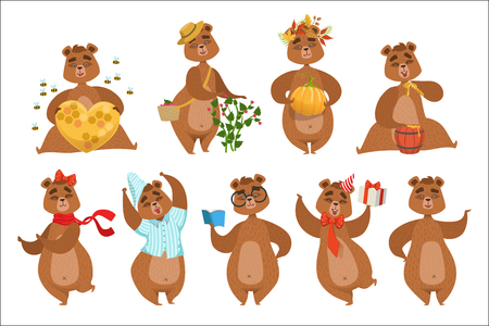 Brown Bear Different Activities Set Of Girly Character Stickers. Humanized Animal In Funny Situations Childish Cartoon Cute Illustrations On White Background. Illustration
