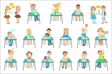 Children Sitting At School Desks In Class Set Of Simple Design Illustrations In Cute Fun Cartoon Style Isolated On White Background 向量圖像