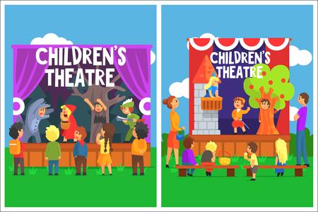 Actuación teatral infantil amateur de un cuento de hadas Ilustración de vector