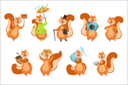 Squirrel Different Activities Set Of Girly Character Stickers. Humanized Animal In Funny Situations Childish Cartoon Cute Illustrations On White Background.