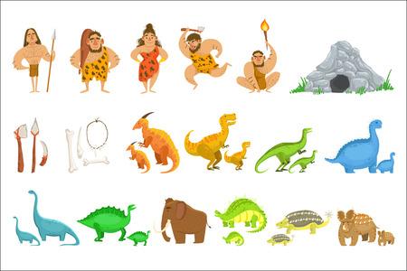 Personas de la tribu de la edad de piedra y objetos relacionados Ilustración de vector