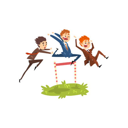 Businessmen jumping over hurdles, competition in achieving the goal, business, career development concept vector Illustration isolated on a white background.