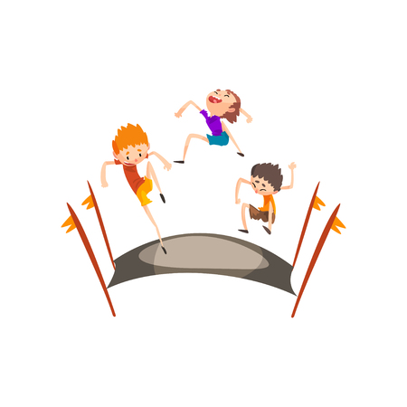 Bouncing boys having fun on trampoline vector Illustration isolated on a white background. Banque d'images - 111889834