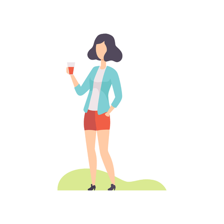 Young woman standing with plastic cup of drink, girl having outdoor bbq party vector Illustration isolated on a white background.