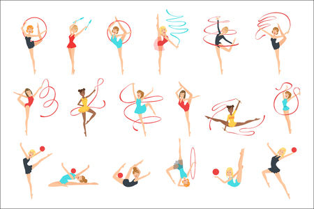 Rhythmic Gymnasts Training With Different Apparatus Set Of Flat Simplified Childish Style Cute Vector Illustrations Isolated On White Background