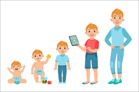 Caucasian Boy Growing Stages With Illustrations In Different Age. Simple Cute Drawings Showing The Same Person As Baby, Kid, Teenager And Adult. Flat Vector Illustration On White Background. 免版税图像 - 111889840