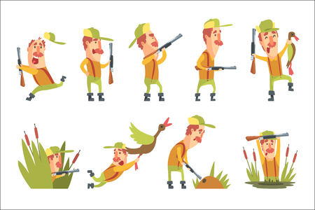 Hunter In Different Funny Situations Set Of Illustrations. Comic Character In Funky Stylized Design And His Hunting Hobby. Flat Vector Cartoon Illustration On White Background,