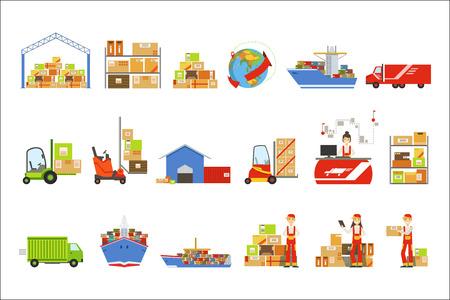 Ensemble d'objets liés à la logistique et à la livraison. Illustrations plates simples de couleur vive isolées sur fond blanc. Vecteurs