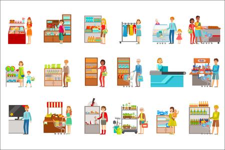 Gente che compera nel grande magazzino insieme delle illustrazioni. I visitatori del supermercato e i prodotti che acquistano adesivi vettoriali piatti semplici.