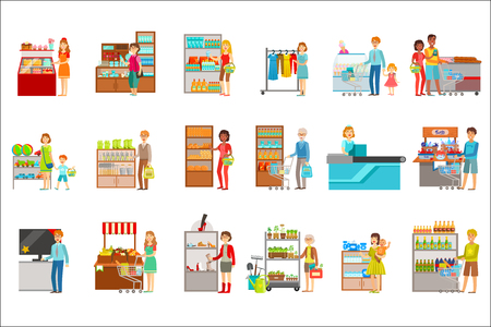 Gente de compras en grandes almacenes conjunto de ilustraciones. Visitantes de supermercado y los productos que compran pegatinas vectoriales planas simples.