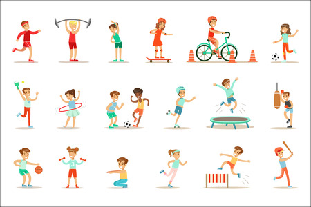 Kids Practicing Different Sports And Physical Activities In Physical Education Class Gym And Outdoors. Children Playing Football, Table Tennis, Basketball And Doing Athletic Exercises. Sportive Teenagers Happy To Do Sportive Training Set Of Cartoon Vector Illustrations.
