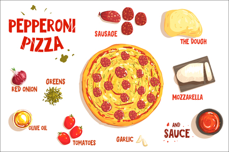Pizza sign in form piece of peperoni. Vector illustration Illustration