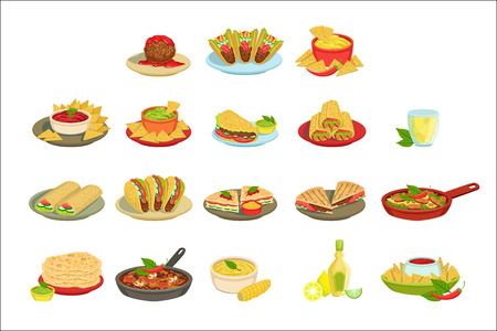 Ensemble d'illustration de plats de signature de nourriture mexicaine. Plats de menu de restaurant de cuisine traditionnelle dans des dessins vectoriels simplifiés,