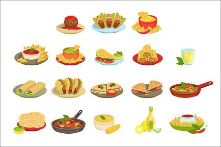 Mexikanisches Essen Unterschrift Gerichte Illustration Set. Traditionelle Küche Restaurant-Menü-Teller in vereinfachten Vektor-Zeichnungen,