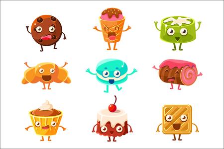Set of funny dessert characters - croissant, cupcake, cake, tiramisu, pretzel, macaroon, cartoon style vector illustration isolated on white background. Cute smiley sweets, dessert characters Çizim