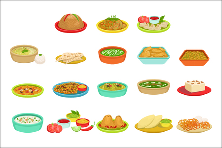 Indian Food Signature Dishes Illustration Set. Traditional Cuisine Restaurant Menu Plates In Simplified Vector Drawings, Stock Vector - 111889853