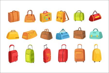 Walizki i inne torby na bagaż zestaw ikon. Jasny kolor na białym tle ilustracje w uproszczonym dziecinnym wektorze na białym tle,
