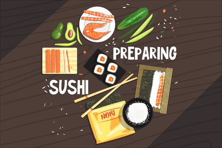 Preparing Sushi Ingredients And Technique. National Cuisine Dish Cooking Process Illustration With Text. Vector Cute Cartoon Simple Drawing. Ilustração