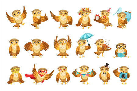 Cute Brown Owl Emoji Icon Set Vettoriali