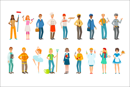 People With Different Professions In Classic Outfits Set. Simple Bright Vector Illustrations Isolated On White Background.