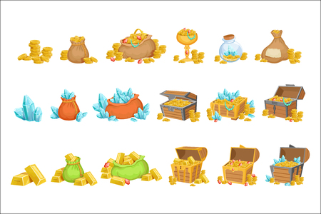 Schatz und Reichtum Set von Spieldesign-Elementen. Nette Karikaturart-Illustrationen mit Gold, Juwelen und Edelsteinen, die auf weißem Hintergrund isoliert werden.