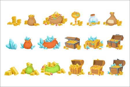 Tesoro y riquezas Conjunto de elementos de diseño del juego. Ilustraciones de estilo de dibujos animados lindo con oro, joyas y gemas aisladas sobre fondo blanco.