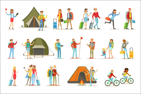 Happy People Traveling And Having Camping Trips Set Of Flat Cartoon Tourists Characters. Set Of Touristic Scenes With Smiling People And Their Ways Of Travel.