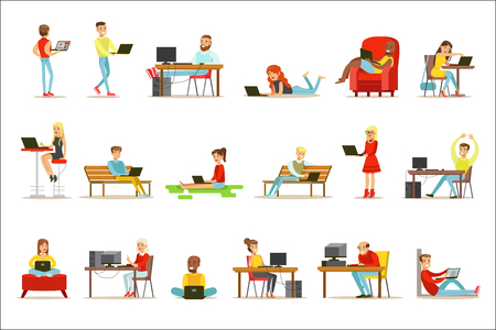 Happy People Spending Their Time Using Computer Set Of Vector Illustrations With Men And Women Using Modern Technology. Cartoon Computer And Lap Top Users Working And Having Their Leisure Surfing Internet.
